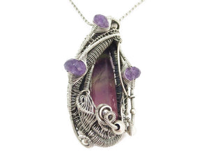 Rainbow Fluorite Pendant with Amethyst, Wire-Wrapped in Sterling Silver
