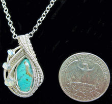 Load image into Gallery viewer, Gem Silica Chrysocolla Wire-Wrapped Pendant in Sterling Silver with Ethiopian Welo Opals