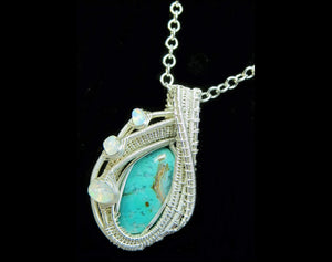 Gem Silica Chrysocolla Wire-Wrapped Pendant in Sterling Silver with Ethiopian Welo Opals - Heather Jordan Jewelry