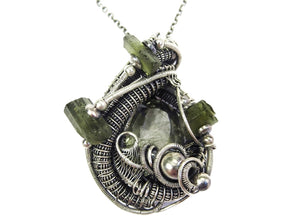 Green Tourmalinated Quartz Pendant, Wire-Wrapped with Green Tourmaline Crystals