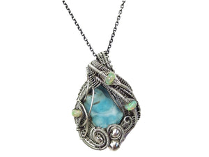 Blue Botyroidal Hemimorphite Druzy Wire-Wrapped Pendant in Sterling Silver with Ethiopian Welo Opals - Heather Jordan Jewelry