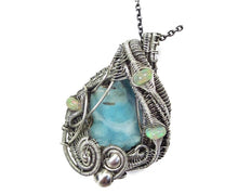 Load image into Gallery viewer, Blue Botyroidal Hemimorphite Druzy Wire-Wrapped Pendant in Sterling Silver with Ethiopian Welo Opals - Heather Jordan Jewelry