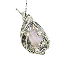 Load image into Gallery viewer, Pink Kunzite Crystal Wire-Wrapped Pendant in Sterling Silver with Morganite - Heather Jordan Jewelry