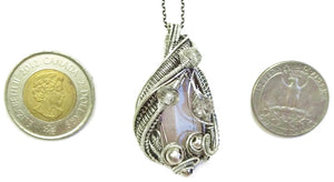 Pink Kunzite Crystal Wire-Wrapped Pendant in Sterling Silver with Morganite - Heather Jordan Jewelry
