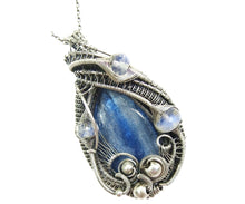 Load image into Gallery viewer, Blue Kyanite Wire-Wrapped Pendant with Rainbow Moonstone