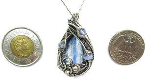 Blue Kyanite Wire-Wrapped Pendant with Rainbow Moonstone