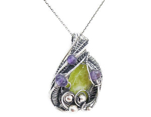 Lemon Jasper Wire-Wrapped Pendant with Amethyst
