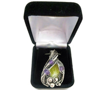 Load image into Gallery viewer, Lemon Jasper Wire-Wrapped Pendant with Amethyst