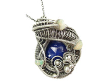 Load image into Gallery viewer, Lapis Lazuli Wire-Wrapped Pendant with Ethiopian Welo Opals