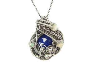 Lapis Lazuli Wire-Wrapped Pendant with Ethiopian Welo Opals