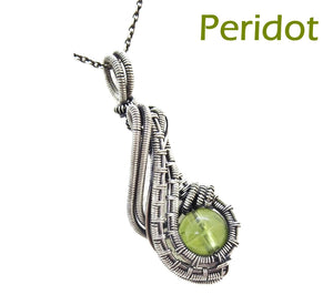 "Custom Gemstone Wire-Wrapped Pendant in Sterling Silver; ""Mini-Comet"""