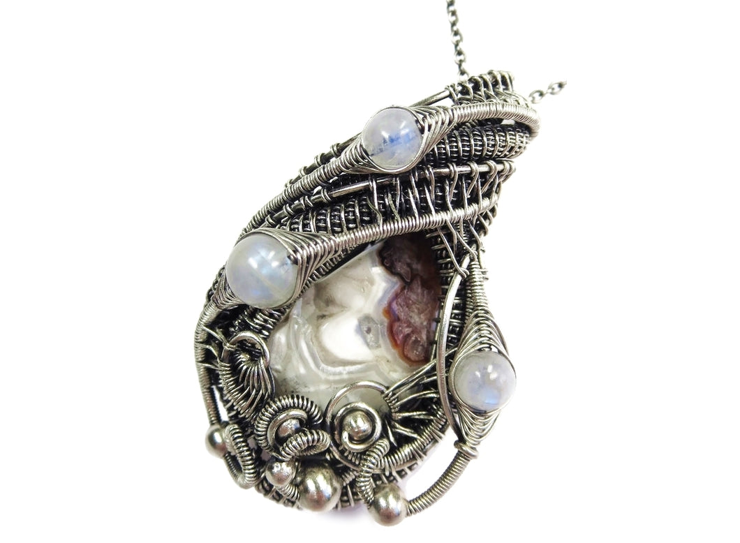 Mexican Crazy Lace Pendant with Rainbow Moonstone