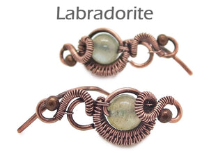 "Custom Gemstone & Copper Wire-Wrapped Ear Pins; ""Orbit"" Style - Heather Jordan Jewelry"