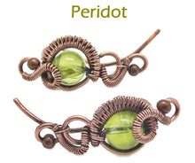 "Load image into Gallery viewer, Custom Gemstone & Copper Wire-Wrapped Ear Pins; ""Orbit"" Style - Heather Jordan Jewelry"