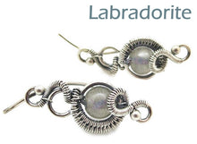 "Load image into Gallery viewer, Sterling Silver ""Orbit"" Ear Pins with Customizable Gemstones (20 stone options)"