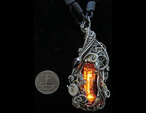 Orange Nixie Tube Cyberpunk Necklace with Upcycled Electronic and Watch Parts