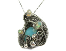 Load image into Gallery viewer, Peruvian Blue Opal Wire-Wrapped Pendant with Ethiopian Welo Opals