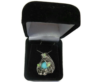 Peruvian Blue Opal Wire-Wrapped Pendant with Ethiopian Welo Opals