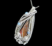 Load image into Gallery viewer, Plume Agate Wire-Wrapped Pendant in Antiqued Sterling Silver with Blue Labradorite - Heather Jordan Jewelry