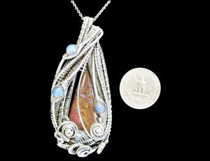 Plume Agate Wire-Wrapped Pendant in Antiqued Sterling Silver with Blue Labradorite - Heather Jordan Jewelry