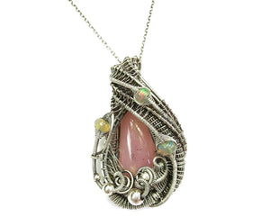 Pink Andean Opal Pendant with Ethiopian Welo Opals
