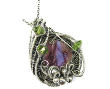 Load image into Gallery viewer, Pink Rubellite Tourmaline Pendant, Wire-Wrapped with Peridot