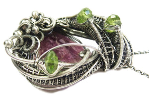 Pink Rubellite Tourmaline Pendant, Wire-Wrapped with Peridot