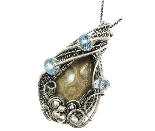 Petoskey Stone Wire-Wrapped Pendant with Blue Topaz