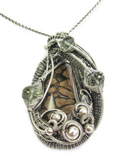 Load image into Gallery viewer, Petrified Algae Wire-Wrapped Pendant in Sterling Silver with Prasiolite