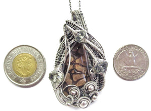Petrified Algae Wire-Wrapped Pendant in Sterling Silver with Prasiolite