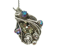 Load image into Gallery viewer, Pyrite Crystal Cluster Wire-Wrapped Pendant in Antiqued Sterling Silver with Titanium Quartz Druzy - Heather Jordan Jewelry