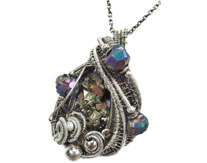 Pyrite Crystal Cluster Wire-Wrapped Pendant in Antiqued Sterling Silver with Titanium Quartz Druzy - Heather Jordan Jewelry