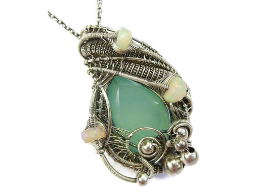 Aqua Chalcedony Wire-Wrapped Pendant with Ethiopian Opals in Sterling Silver