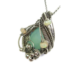 Aqua Chalcedony Wire-Wrapped Pendant in Antiqued Sterling Silver with Ethiopian Welo Opals