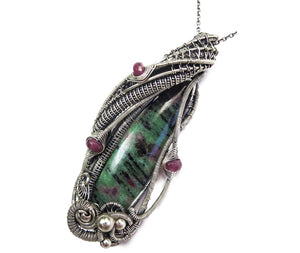Ruby Zoisite Pendant with Pink Sapphire