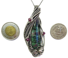 Load image into Gallery viewer, Ruby Zoisite Pendant with Pink Sapphire