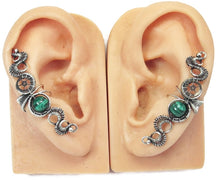"Load image into Gallery viewer, Custom Gemstone & Sterling Silver Steampunk Ear Cuff; ""Rippling Wave"" Model - Heather Jordan Jewelry"