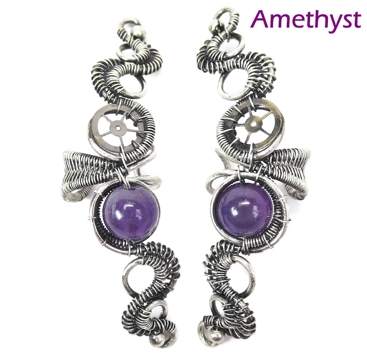 Custom Gemstone & Sterling Silver Steampunk Ear Cuff;