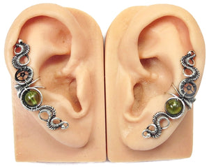 "Custom Gemstone & Sterling Silver Steampunk Ear Cuff; ""Rippling Wave"" Model - Heather Jordan Jewelry"