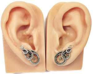 "Sterling Silver Steampunk Ear Pins with Brass Watch Gears; ""Rolling Wave"" Model - Heather Jordan Jewelry"