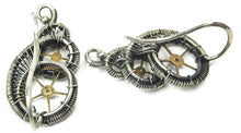 "Load image into Gallery viewer, Sterling Silver Steampunk Ear Pins with Brass Watch Gears; ""Rolling Wave"" Model - Heather Jordan Jewelry"
