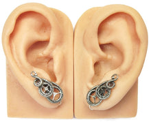 "Load image into Gallery viewer, Sterling Silver Steampunk Ear Pins; ""Rolling Wave"" Model - Heather Jordan Jewelry"