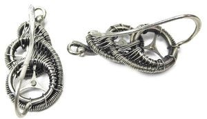 "Sterling Silver Steampunk Ear Pins; ""Rolling Wave"" Model - Heather Jordan Jewelry"