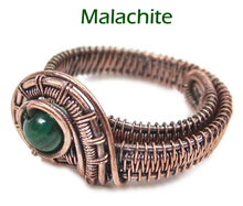 Load image into Gallery viewer, Woven Adjustable Copper Ring with Custom Gemstone - Heather Jordan Jewelry