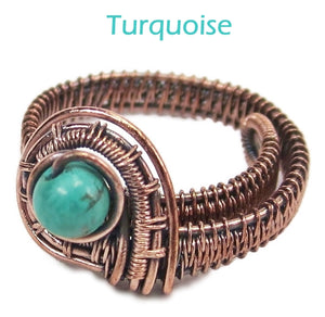 Woven Adjustable Copper Ring with Custom Gemstone - Heather Jordan Jewelry
