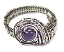 Load image into Gallery viewer, Adjustable Woven Sterling Silver Ring with Customizable Gemstone