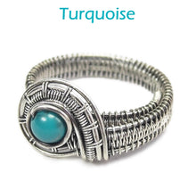 Load image into Gallery viewer, Adjustable Woven Sterling Silver Ring with Customizable Gemstone - Heather Jordan Jewelry