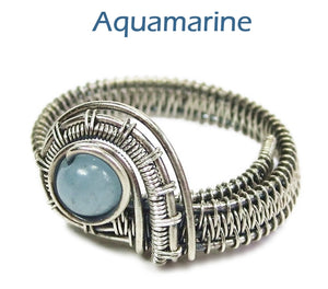 Adjustable Woven Sterling Silver Ring with Customizable Gemstone - Heather Jordan Jewelry