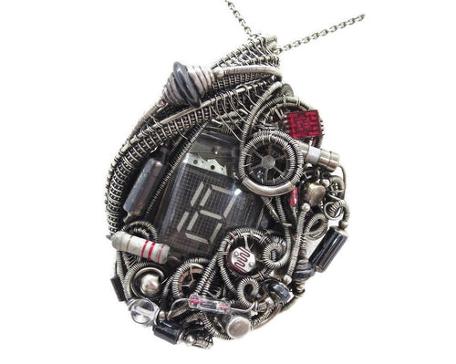 Nixie Tube Steampunk/Cyberpunk Fusion Pendant with Upcycled Watch & Electronic Parts