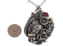 Load image into Gallery viewer, Nixie Tube Steampunk/Cyberpunk Fusion Pendant with Upcycled Watch & Electronic Parts
